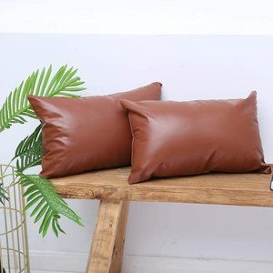 New Faux Leather Lumbar Throw Pillow Covers